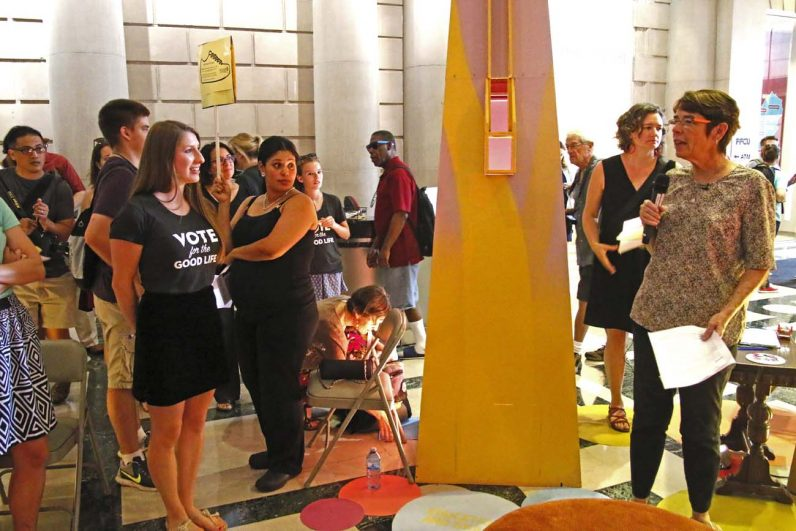 Sister Mary Scullion (right) speaks about homelessness in Philadelphia to guests at the Free Library of Philadelphia's Central Branch July 27. The Sister of Mercy is cofounder of Project HOME, one of Philadelphia's leading outreach programs to homeless people. (Sarah Webb)