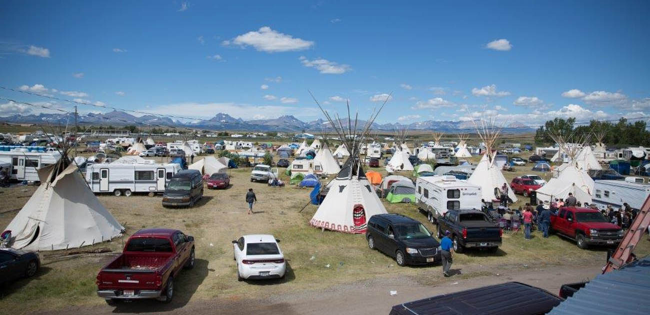 Tipis and tents are pitched on campgrounds for North American Indian Day July 7-10 in Browning, Mont. The annual event attracts about 10,000 participants from 50 different tribes across North America. (CNS photo/courtesy Catholic Extension)