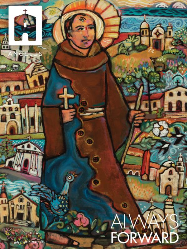 This is the cover of the first issue of the Los Angeles Archdiocese's new Angelus weekly magazine featuring St. Junipero Serra. (CNS photo/Archdiocese of Los Angeles)