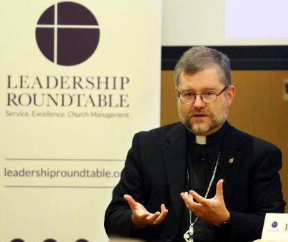 Auxiliary Bishop Thomas Dowd of the Archdiocese of Montreal speaks on what his archdiocese has learned by changing its managerial practices. (Sarah Webb)