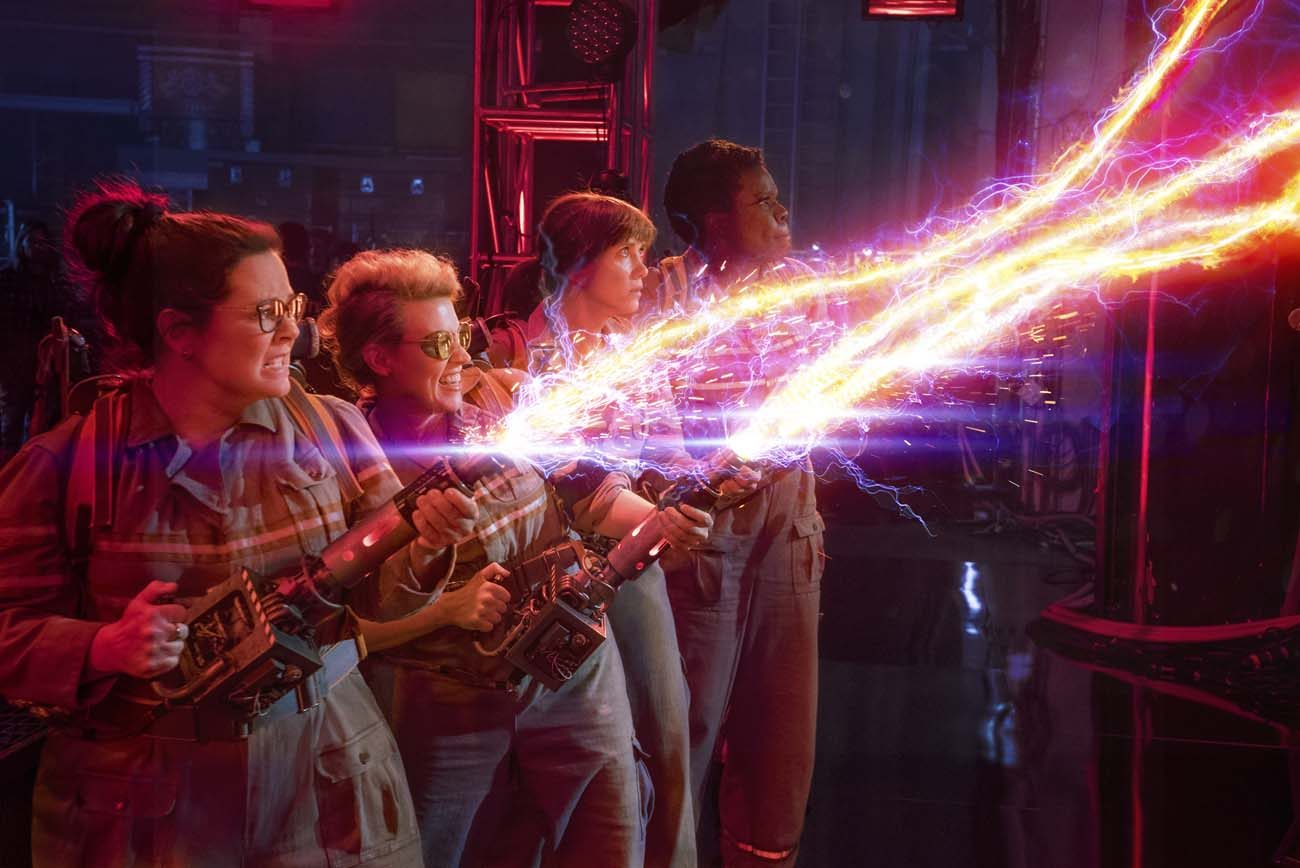 "Melissa McCarthy, Kate McKinnon, Kristen Wiig and Leslie Jones star in a scene from the movie ""Ghostbusters."" (CNS photo/Sony)"