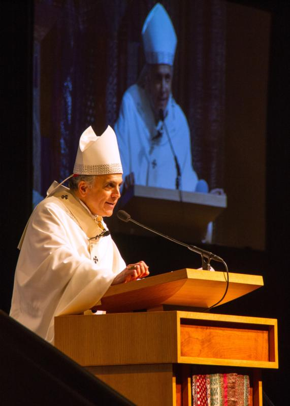 Cardinal Daniel N. DiNardo of Galveston-Houston delivers his homily during a July 14 Mass for diversity and unity celebrated during the 39th National Association of Pastoral Musicians annual convention in Houston. (CNS photo/James Ramos, Texas Catholic Herald)
