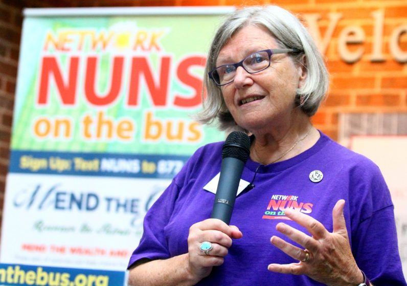 Sister Simone Campbell, S.S.S., thanks everyone for their support during the Nuns on the Bus trip and encourages them to continue their support for social justice.