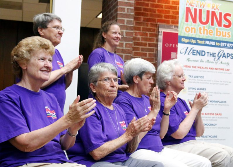The sisters participating in Nuns on the Bus heard and shared stories of economically challenged Americans and spread the word of mending the gap.