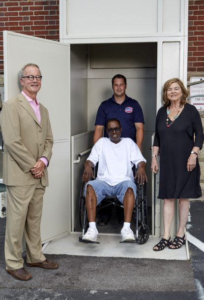 A disabled veteran finds it easy to use Operating Base Cecilia with the help of an elevator with outdoor access.