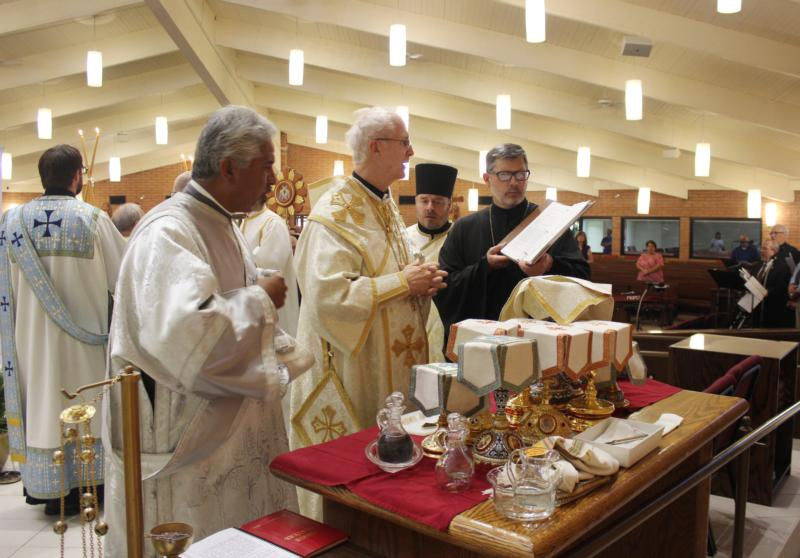 Bishop John S. Pazak, center, is the new head of the Holy Protection of Mary Byzantine Eparchy of Phoenix. He was enthroned July 20 during a Divine Liturgy at St. Helen Roman Catholic Church in Glendale, Ariz. (CNS photo/courtesy Kathleen Slonka, Eparchy of Phoenix)