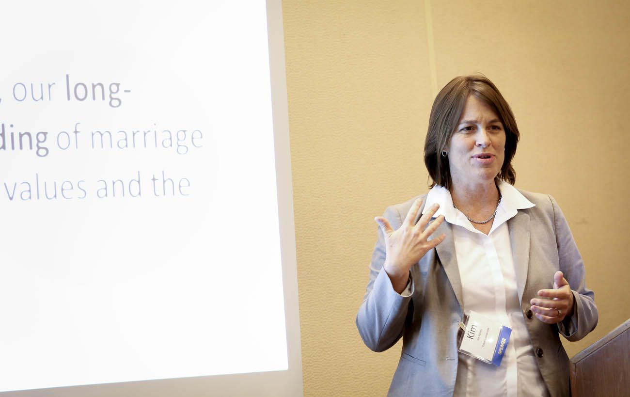 Kim Daniels gives a presentation on communications during the Catholic Media Conference in Denver in this June 19, 2013, file photo.  (CNS photo/Nancy Phelan Wiechec)
