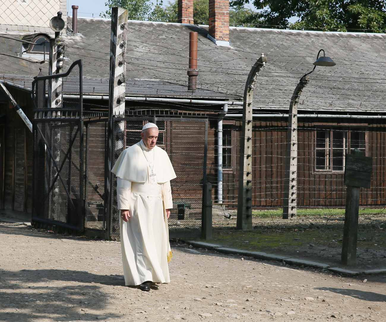 Pope Francis visits the Auschwitz Nazi death camp in Oswiecim, Poland, July 29. (CNS photo/Grzegorz Galazka, pool))