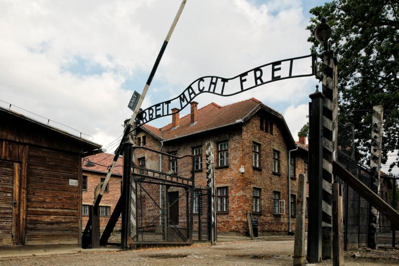 The entrance gate to the Auschwitz Nazi concentration camp is seen in Oswiecim, Poland, in this Sept. 4, 2015, file photo. In a news conference July 20, Jesuit Father Federico Lombardi, Vatican spokesman, said that among the highlights of Pope Francis' visit to Poland for World Youth Day will be his stop at the concentration camps of Auschwitz and Birkenau. (CNS photo/Nancy Wiechec)