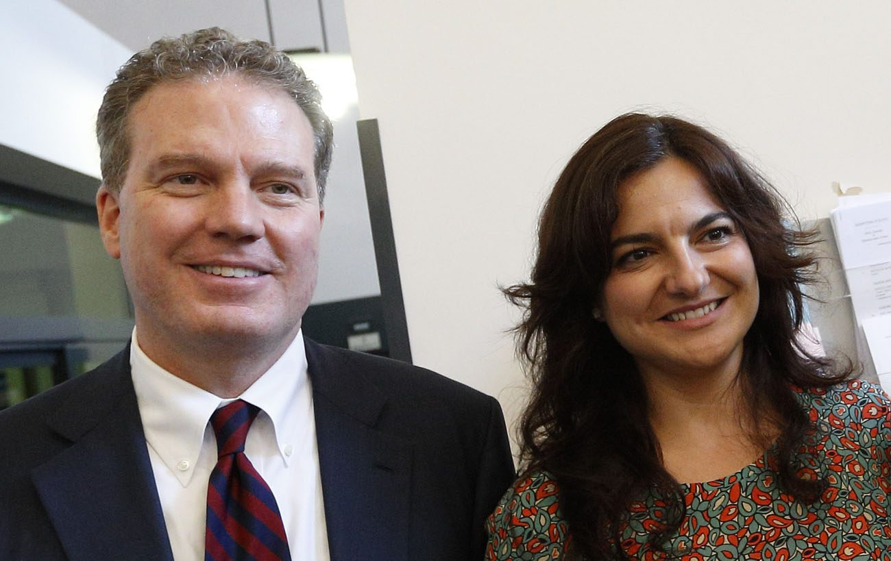 Greg Burke, the new director of the Vatican press office and Vatican spokesman, and Paloma Garcia Ovejero, the new vice director, are pictured during an announcement of their appointments to journalists at the Vatican press office July 11.  (CNS photo/Paul Haring)