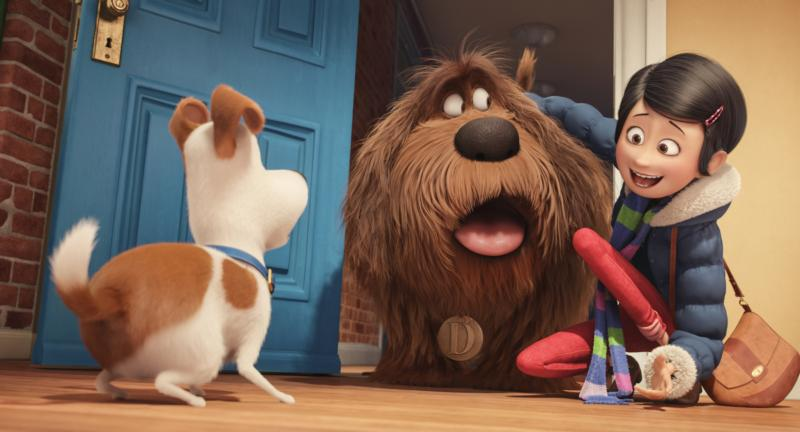 "Max, voiced by Louis C.K., Duke, voiced by Eric Stonestreet and Katie, voiced by Ellie Kemper, appear in the animated movie ""The Secret Life of Pets."" (CNS photo/Universal)"