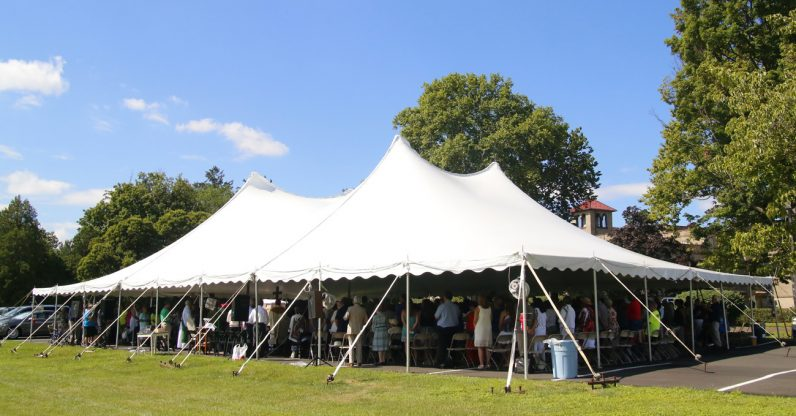 A tent accommodated some 500 worshipers for the 125th anniversary Mass of the Sisters of the Blessed Sacrament at their motherhouse in Bensalem on Sunday, July 10.