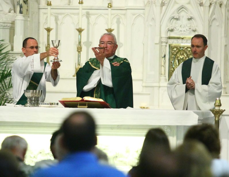 Father Paul Brandt, pastor, celebrates Mass for St. Teresa of Calcutta Parish July 16.