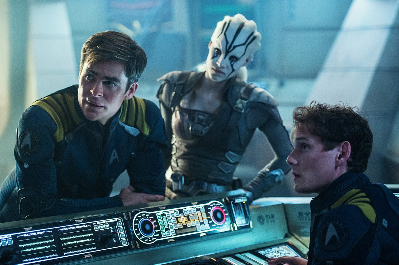 "Chris Pine, Sofia Boutella and Anton Yelchin star in a scene from the movie ""Star Trek Beyond."" (CNS photo/Paramount)"