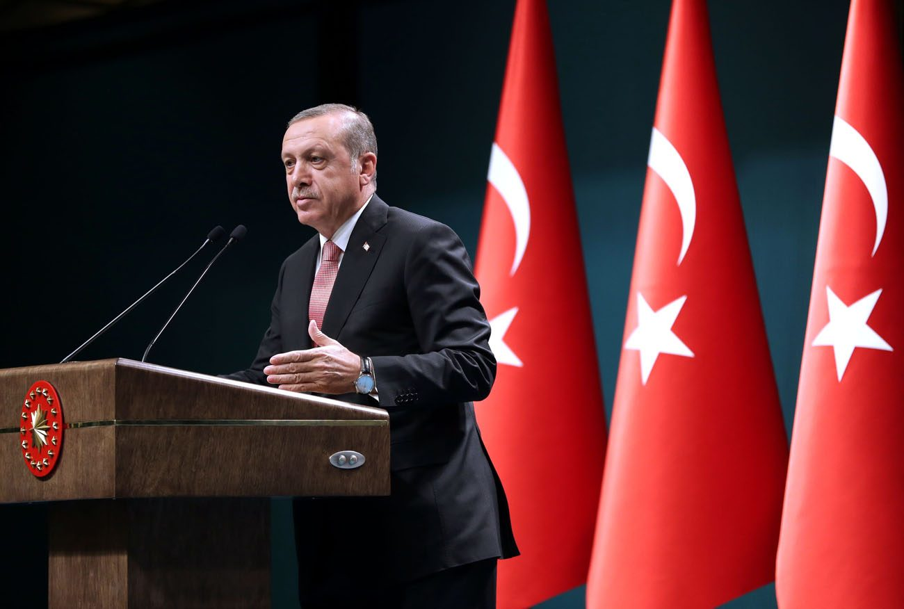 Turkish President Recep Tayyip Erdogan speaking during a July 20 press conference in Ankara. Erdogan has declared a three-month state of emergency after a July 15-16 coup attempt. (CNS photo/Turkish Presidential Press Office)
