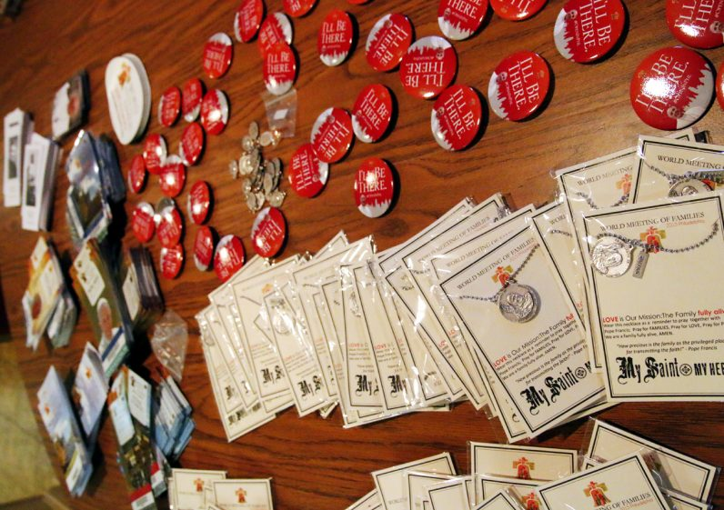 The Philadelphia Archdiocese provided many World Meeting of Families trinkets and other mementos for the young people to exchange with other youths while at World Youth Day.