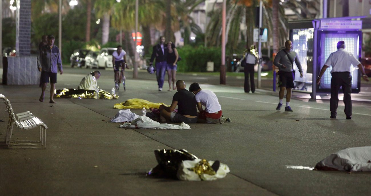 Bodies are seen on the ground July 15 after at least 84 people were killed in Nice, France, when a heavy truck ran into a crowd celebrating the Bastille Day national holiday July 14. (CNS photo/Eric Gaillard, Reuters)