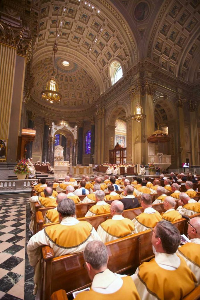 Many priests of the Philadelphia Archdiocese concelebrated the ordination Mass from the nave of the cathedral. (Bradley Digital)