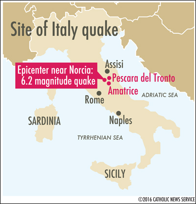 Map shows the site of the Aug. 24 earthquake in Italy. (CNS graphic/Liz Agbey)