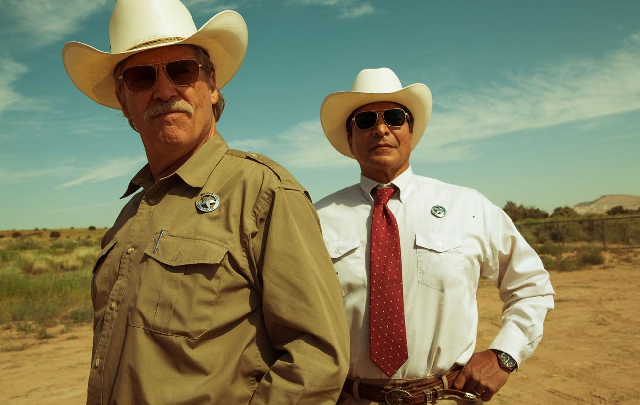 "Jeff Bridges and Gil Birmingham star in a scene from the movie ""Hell or High Water."" (CNS photo/CBS Films Publicity)"
