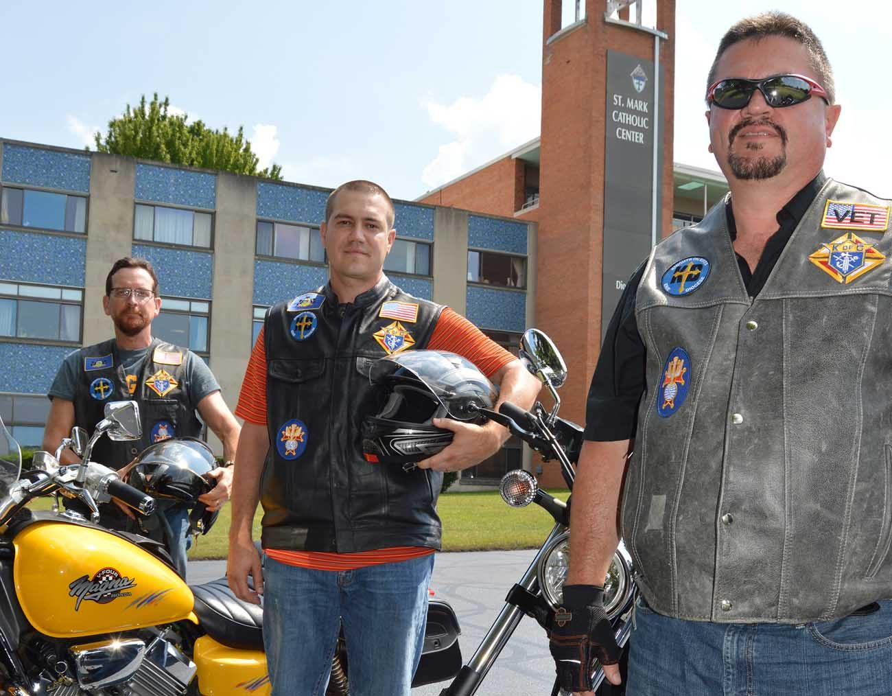 Matt Goreczny, Chris Wolfgong and Robert Burneisen, front right, pictured in an Aug. 4 photo, are founding members of the Pennsylvania Chapter of Knights on Bikes. (CNS photo/Mary Solberg, FaithLife)