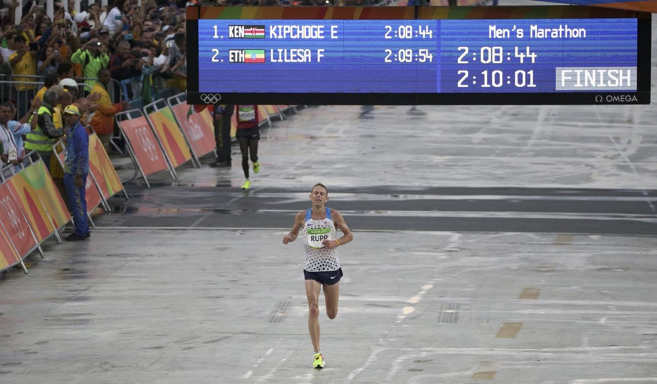 Marathon runner Galen Rupp of the U.S. crosses the finish line Aug. 21 to win the bronze medal at the 2016 Olympics in Rio de Janeiro.  (CNS photo/Sergio Moraes, Reuters)
