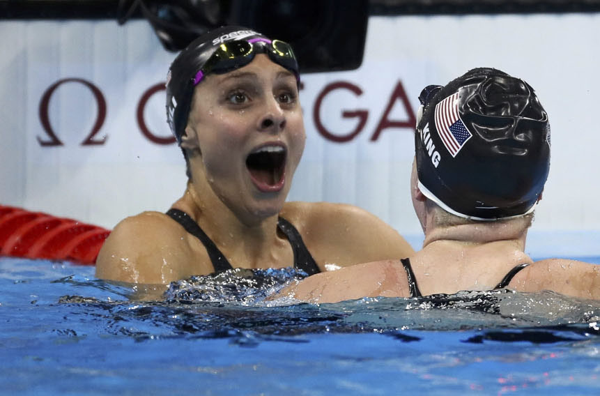U.S. swimmer Katie Meili reacts after finishing third in the 100-meter breaststroke final during the Olympics in Rio de Janeiro Aug. 8. (CNS photo/Stefan Wermuth, Reuters)