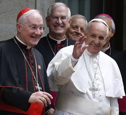 Cardinal Marc Ouellet, left, is shown in this CNS file photo with Pope Francis after he celebrated Mass at the Pontifical North American College in Rome in May 2015.  (CNS photo/Paul Haring)