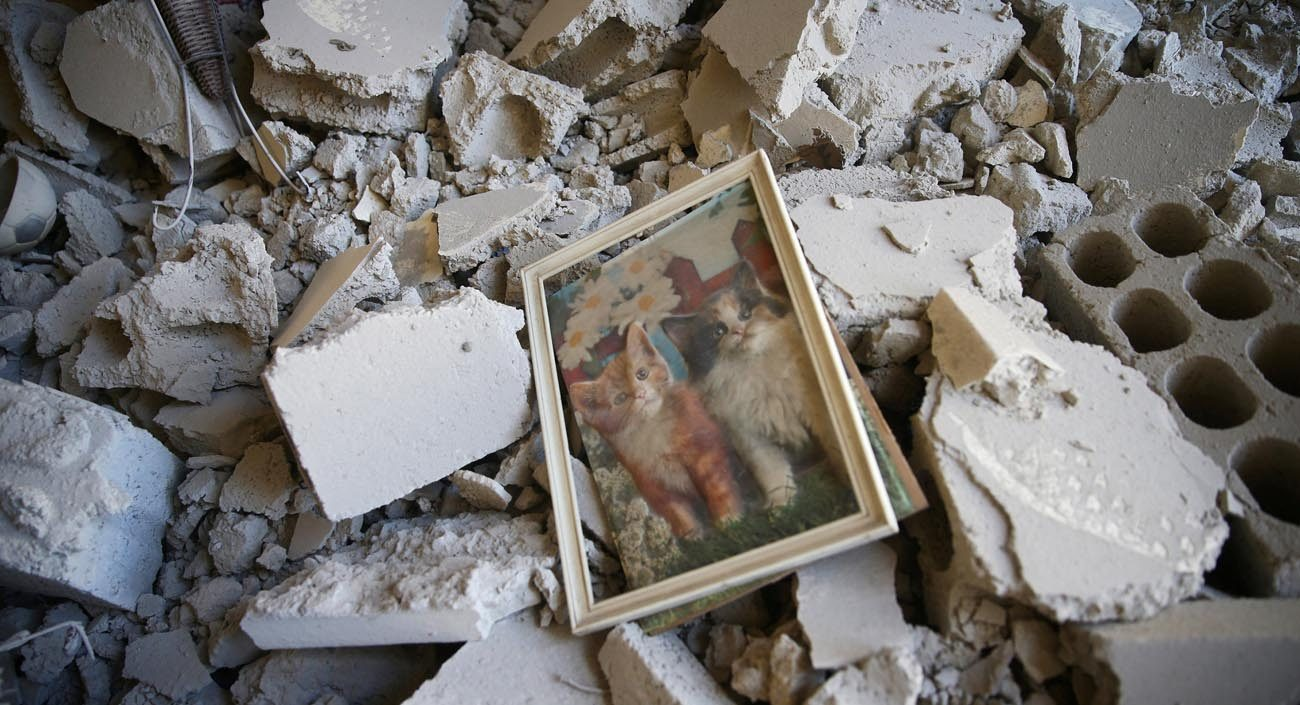 "A framed picture of kittens lies amid rubble in Damascus, Syria, July 27. Christian patriarchs residing in Damascus urged the international community to ""stop the siege of the Syrian people"" and to lift international sanctions, which they say are deepening the suffering. (CNS photo/Bassam Khabieh, Reuters)"