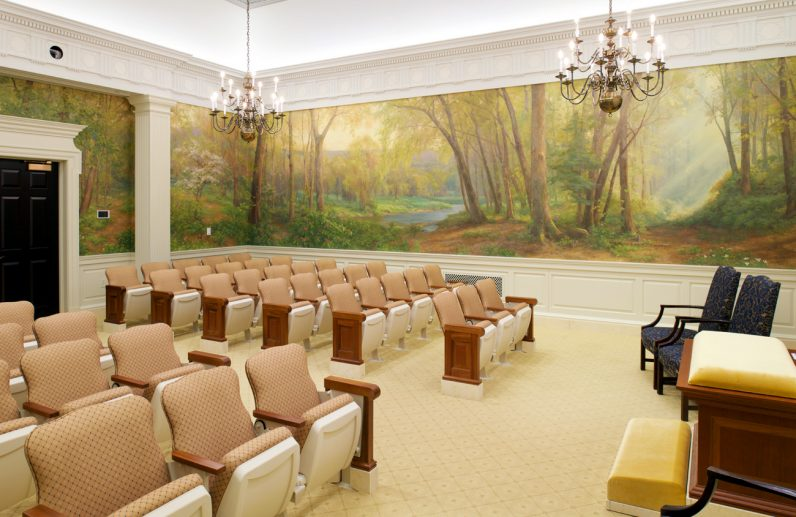 An Instruction Room on the temple's second floor serves as a room for church members to hear words from their scripture and a sermon. The room's artwork depicts the natural setting of Pennsylvania forests and landscape. (Photo by the Church of Jesus Christ of Latter-Day Saints)