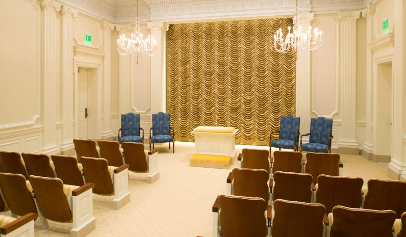 Another Instruction Room on the third floor of the temple draws the faithful into high contemplation and replaces natural artwork with more ornate architectural flourishes, yet still in the neo-classical Philadelphia style. (Photo by the Church of Jesus Christ of Latter-Day Saints)