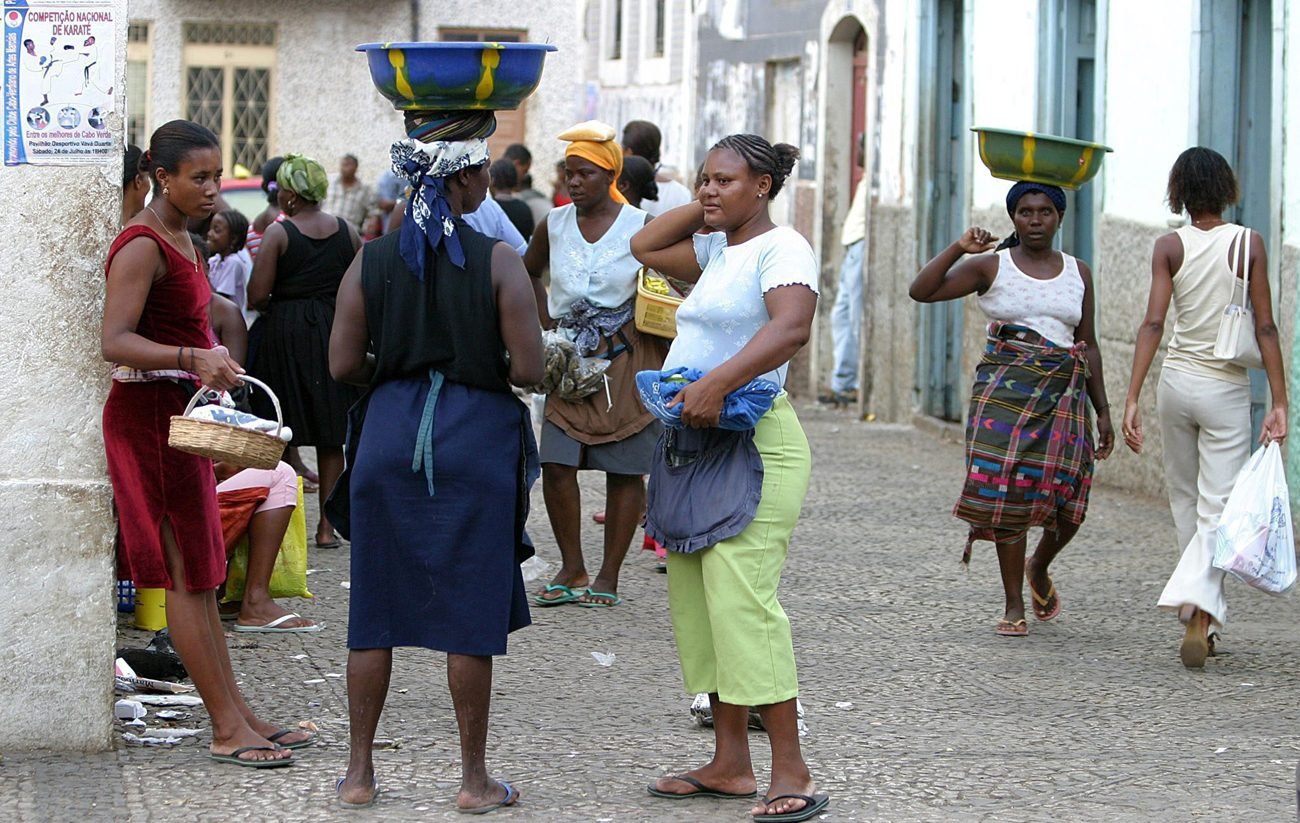 Women are seen near a market in Praia, Cape Verde, in this 2004 file photo. The African nation of half a million people has 7,500 confirmed cases of the Zika virus, but health officials suspect more cases are unreported. (CNS photo/Nic Bothma, EPA)