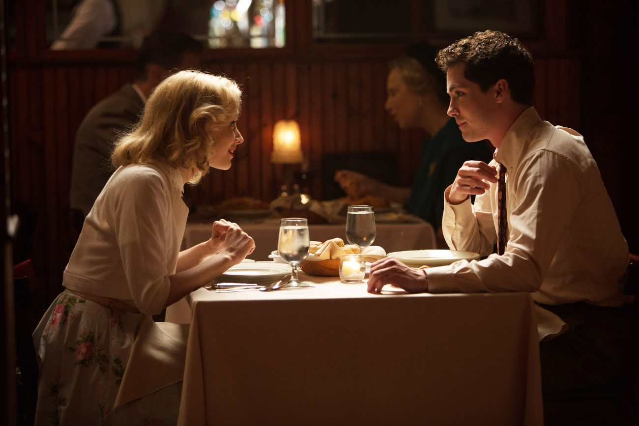 "Sarah Gadon and Logan Lerman star in a scene from the movie ""Indignation."" (CNS photo/Roadside)"
