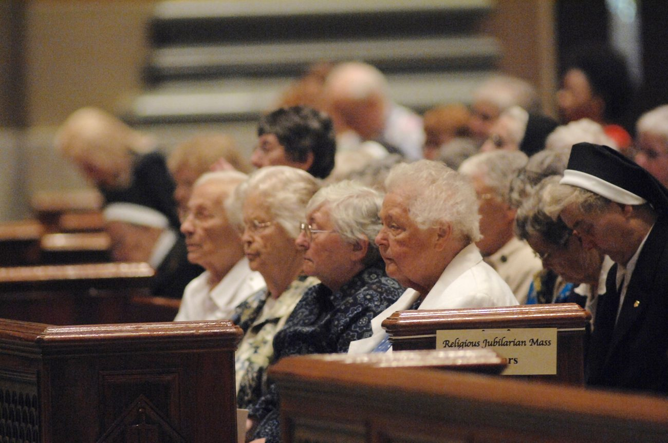 Sisters celebrating their anniversary of religious life attend the 2016 jubilarian Mass celebrated by Archbishop Charles Chaput Sunday, Sept. 12 at the Cathedral Basilica of SS. Peter and Paul. (Photo by D'Mont Reese)