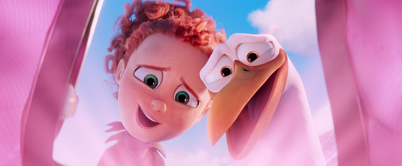 """Animated characters Tulip (voiced by Katie Crown) and Junior (voiced by Andy Samberg) appear in the movie """"Storks."""" The Catholic News Service classification is A-II -- adults and adolescents. The Motion Picture Association of America rating is PG -- parental guidance suggested. Some material may not be suitable for children. (CNS photo/Warner Brothers)         in the new animated adventure """"STORKS,"""" a Warner Bros. Pictures release."""