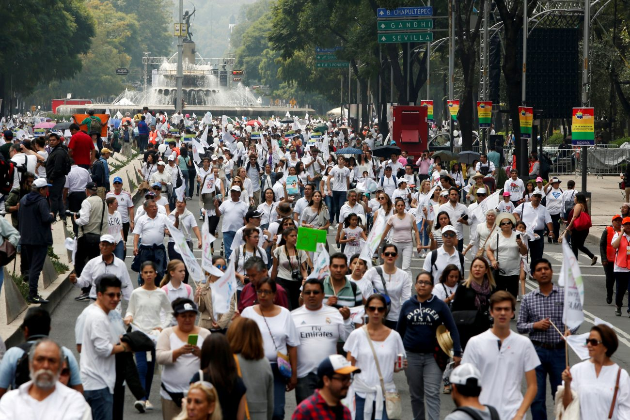 People arrive to participate in a march against the legalization of same-sex marriage Sept. 24 in Mexico City. (CNS photo/Carlos Jasso, Reuters)