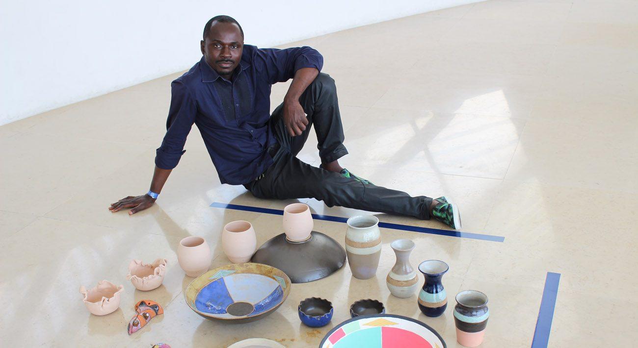 Keto Kabongo, a Congolese ceramic artist living now in Rio de Janeiro, poses for a photo Sept. 14. Kabongo left Congo for safer dwellings. (CNS photo/Lise Alves)