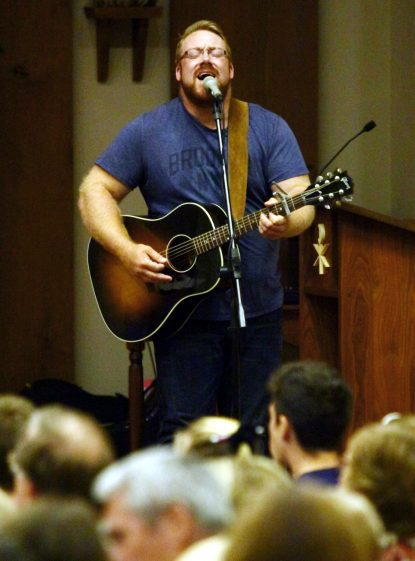 Jon Niven, singer and guitarist, travels with Chris Stefanick to stir audiences with his musical talents. (Sarah Webb)