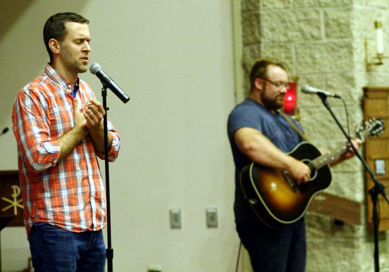 Chris Stefanick and Jon Nevin lead prayer and song during Reboot! Live!