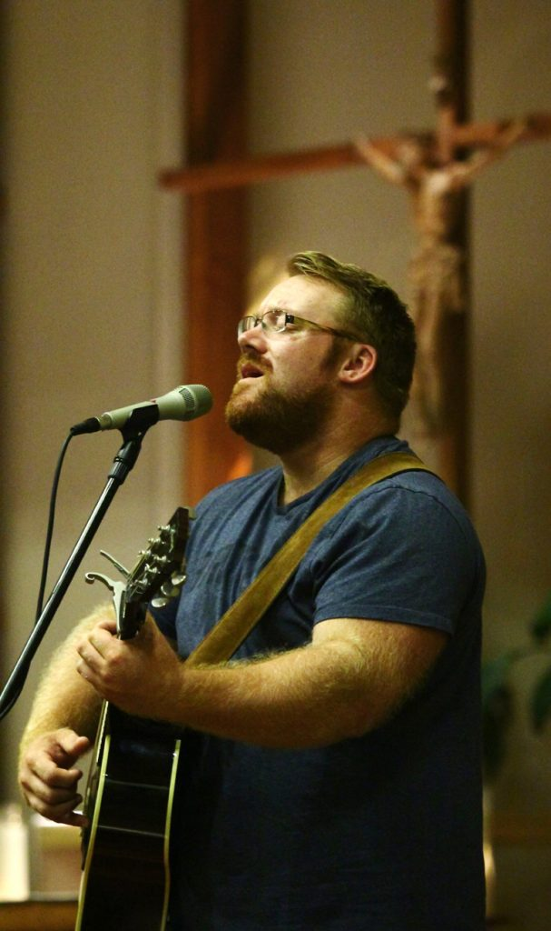 Jon Niven sings during Reboot! Live! at St. Martin of Tours Church in New Hope.