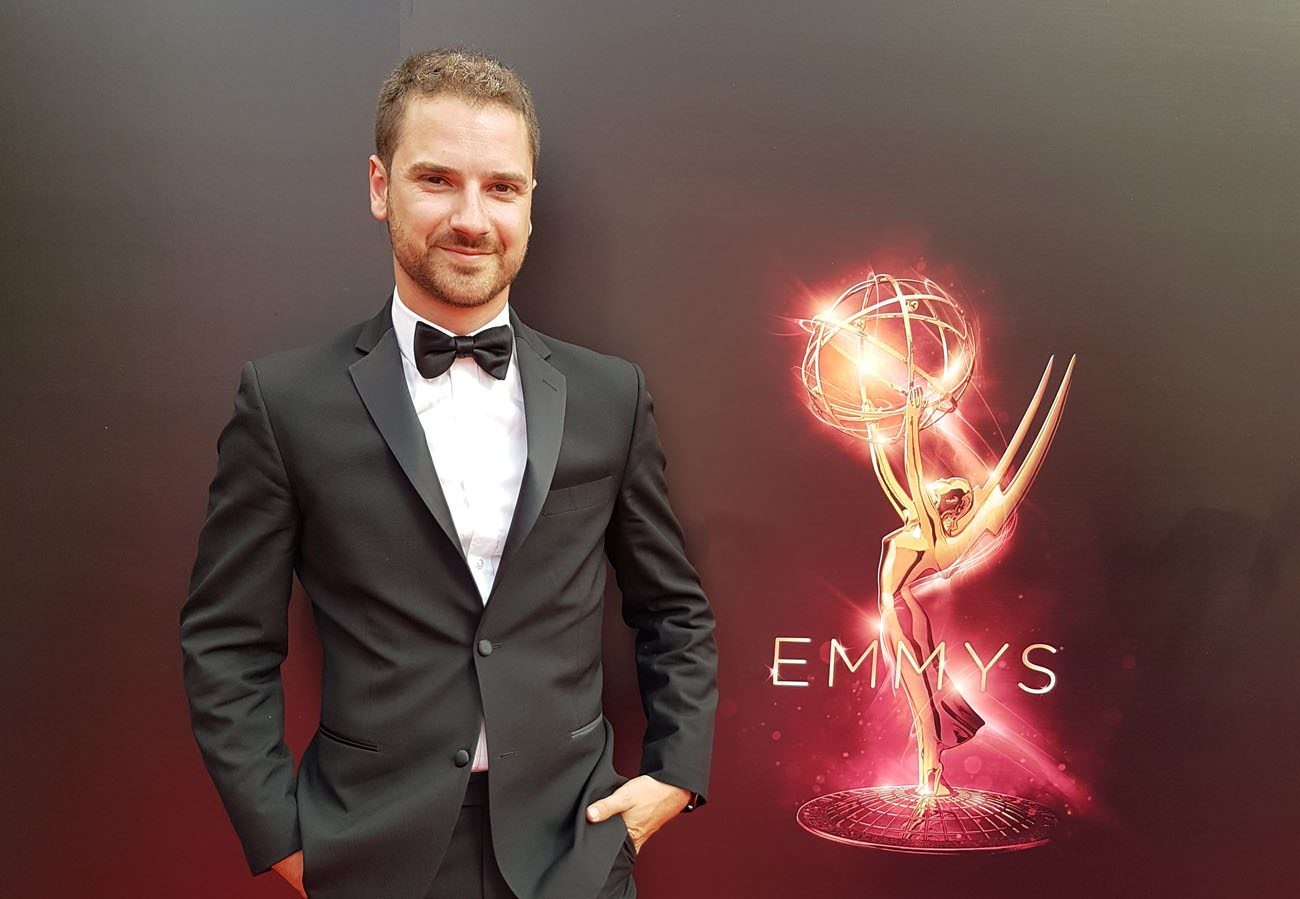 Thomas Montminy-Brodeur, former Archdiocese of Quebec employee, poses for a photo during the Emmys in Los Angeles Sept. 10.  He won the Best Visual Effects Emmy Award as part of the team at Rodeo FX, the Montreal studio that makes the special effects for Game of Thrones. (CNS photo/courtesy Thomas Montminy-Brodeur via Presence)