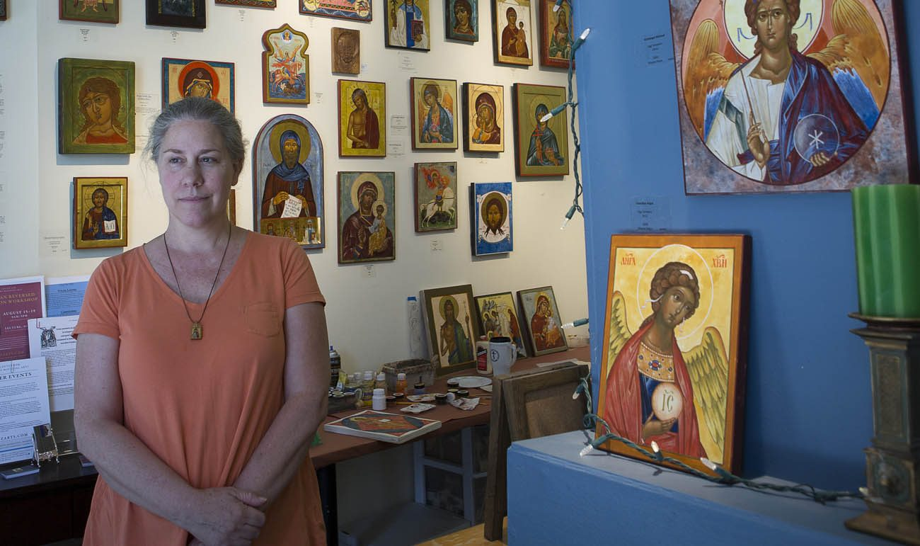 Colette Kalvesmaki, a Byzantine iconographer in Washington, is seen in her studio July 20. (CNS photo/Tyler Orsburn)
