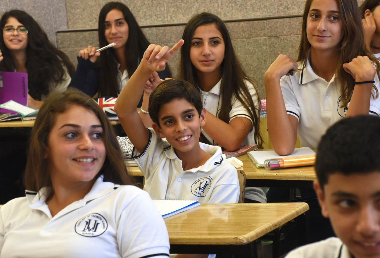 Students attend class in Nazareth Sisters school Sept. 8 in Haifa, Israel. When Israel's Ministry of Education ranked its top 277 schools, eight of the nation's 47 Christian schools were on the list. (CNS photo/Debbie Hill)