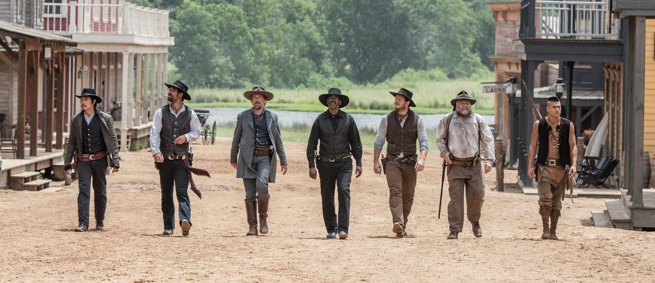 "Byung-hun Lee, Manuel Garcia-Rulfo, Ethan Hawke, Denzel Washington, Chris Pratt, Vincent D'Onofrio and Martin Sensmeier star in a scene from the movie ""The Magnificent Seven."" (CNS photo/MGM)"
