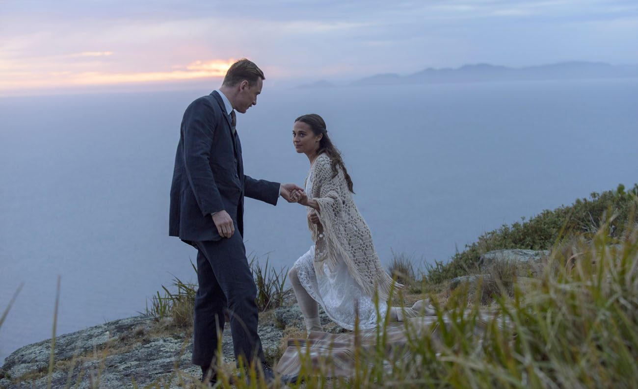 "Michael Fassbender and Alicia Vikander star in a scene from the movie ""The Light Between Oceans."" (CNS photo/Disney)"