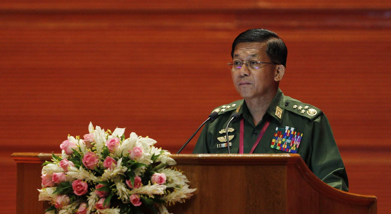 Senior Gen. Min Aung Hlaing, Myanmar military commander-in-chief,  speaks during the Union Peace Conference Aug. 31 in Naypyitaw. Myanmar's cardinal assured the conference of the church's support for building lasting peace in the conflict-torn Southeast Asian country. (CNS photo/Hein Htet, EPA)