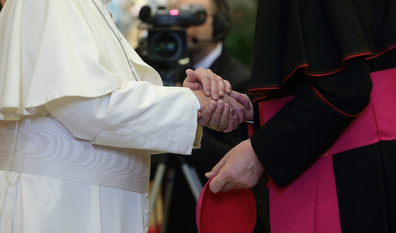 Pope Francis shakes hands with a bishop. (CNS photo/Evandro Inetti, pool)