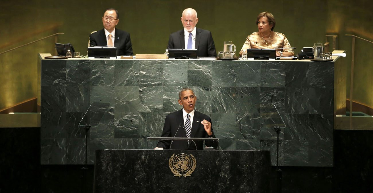 U.S. President Barack Obama addresses the U.N. General Assembly Sept. 20 in New York City. Speaking for the last time at the United Nations as president, Obama said that while the world has become safer and more prosperous, nations are struggling with a devastating refugee crisis, terrorism and a breakdown in basic order in the Middle East. (CNS photo/Mike Segar, Reuters)