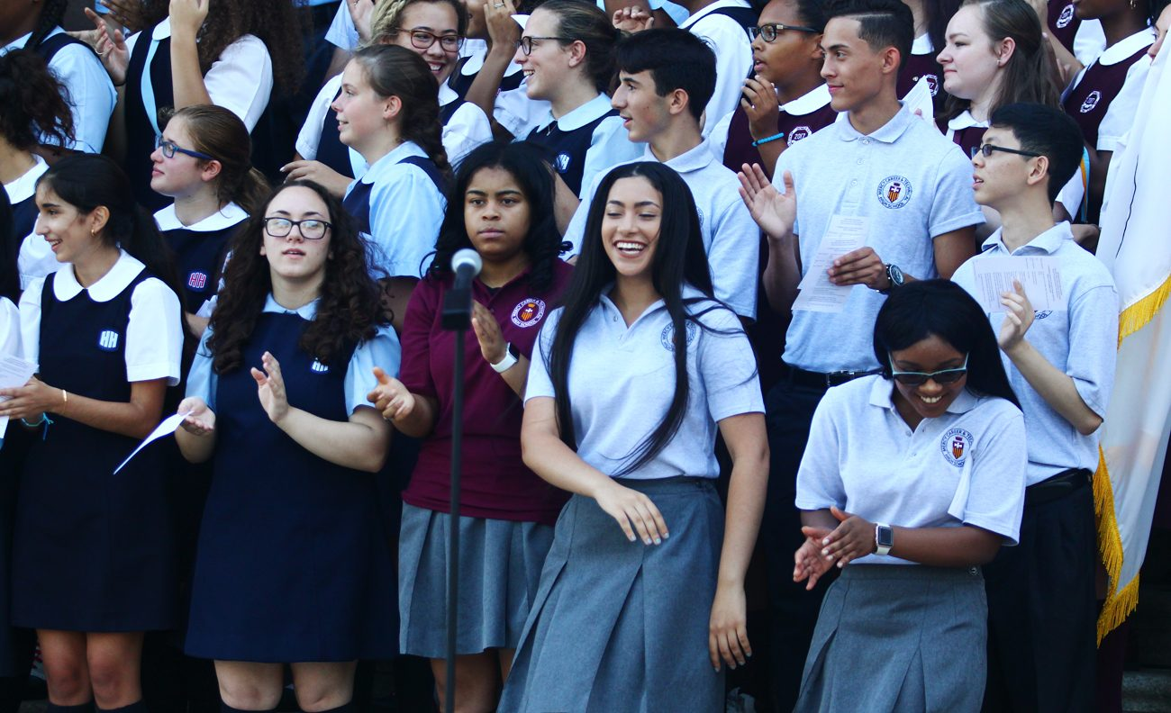 Students representing every high school, elementary school and and school of special education came out and cheered the start of the new academic year at a pep rally Sept. 9 outside the Cathedral Basilica of SS. Peter and Paul, Philadelphia. (Photo by Sarah Webb)