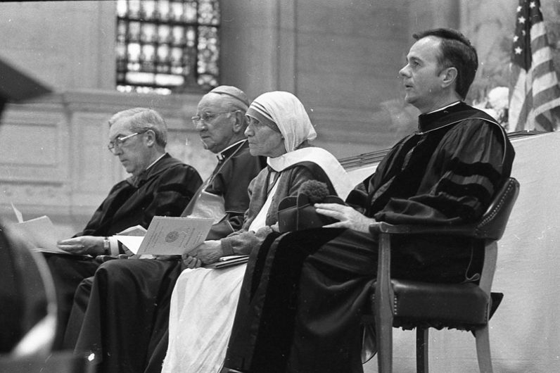 At the convocation of the Religious Studies Division at St. Charles Borromeo Seminary in 1979, Mother Teresa received an honorary degree. Shown from left are Msgr. Vincent Burns, rector of St. Charles Seminary; Cardinal John Krol; Mother Teresa; and Msgr. Arthur Rodgers, dean of the Religious Studies Division. (Philadelphia Archdiocesan Historical Research Center, Robert and Theresa Halvey Photograph Collection)